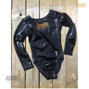 Ennis Gymnastics Long sleeve black leotard